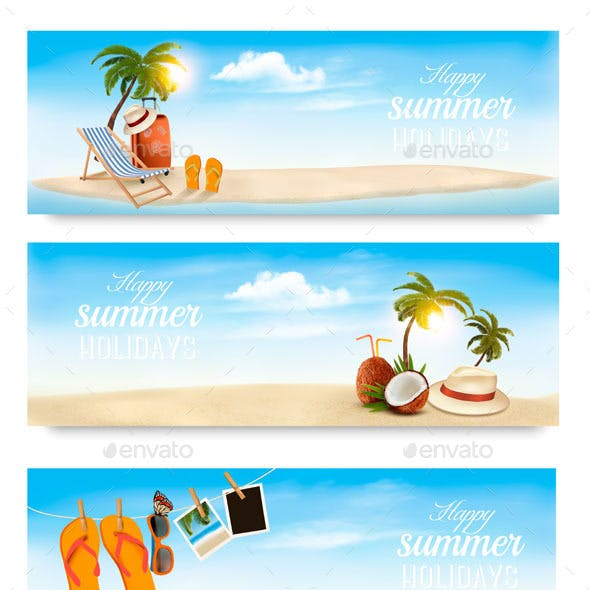 Vacation Vector Banners.