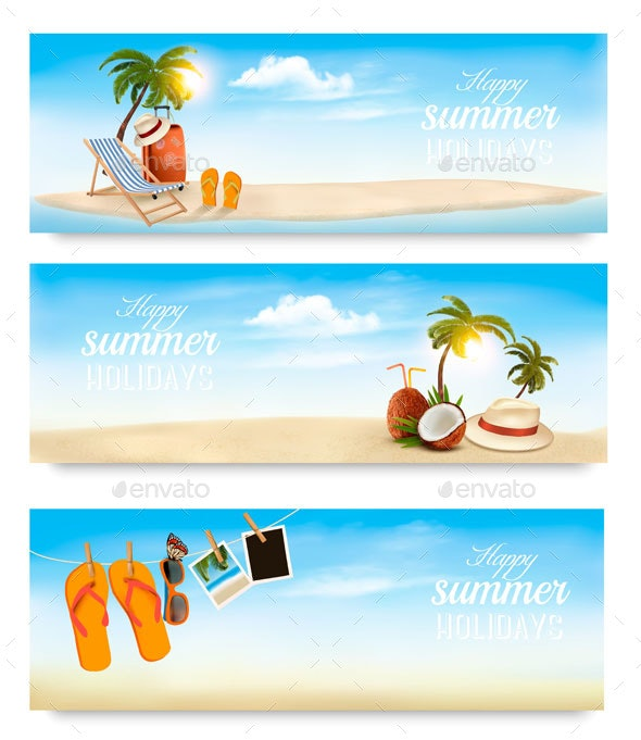 Vacation Vector Banners. - Travel Conceptual