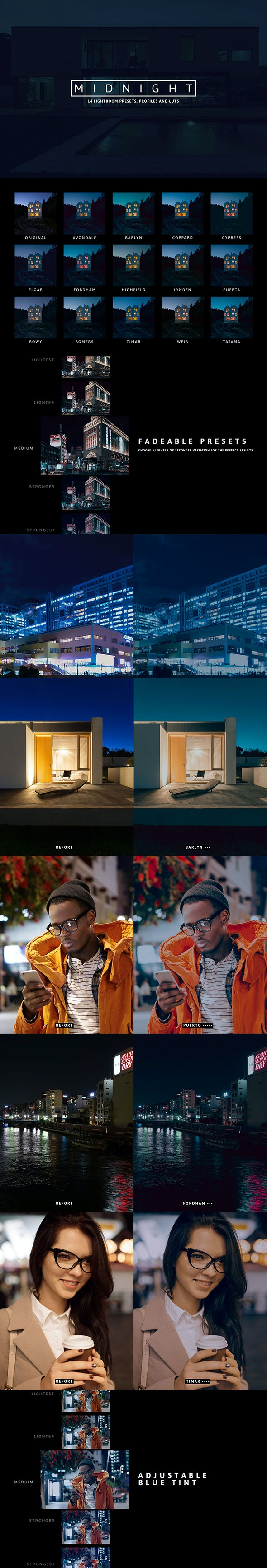 14 Mightnight Presets and Profiles - Lightroom Presets Add-ons