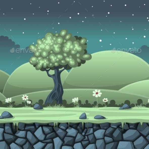Seamless Cartoon Night Background