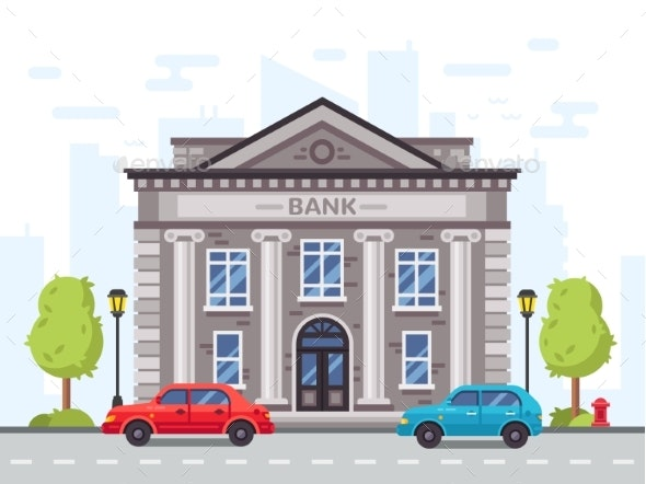 Cartoon Bank or Government Building - Buildings Objects