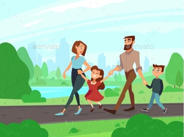 Happy Cartoon Family - People Characters