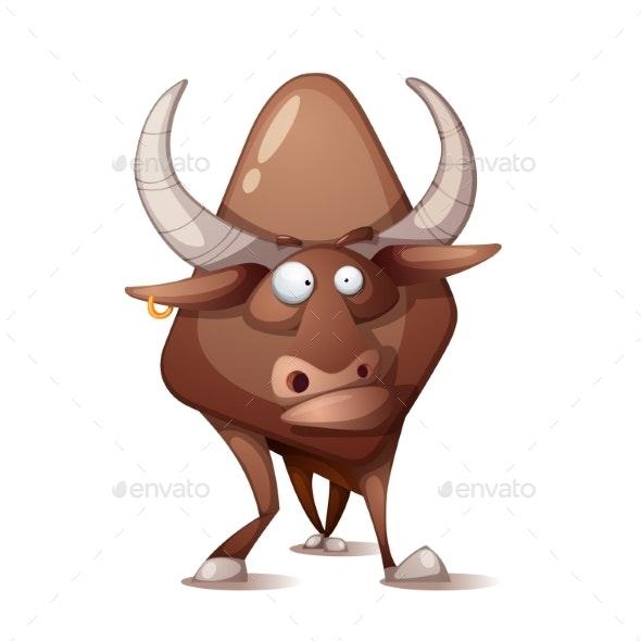 Crazy Cartoon Bull - Animals Characters