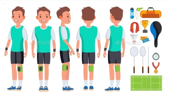 Badminton Young Man Player Vector. Motion Game - Sports/Activity Conceptual