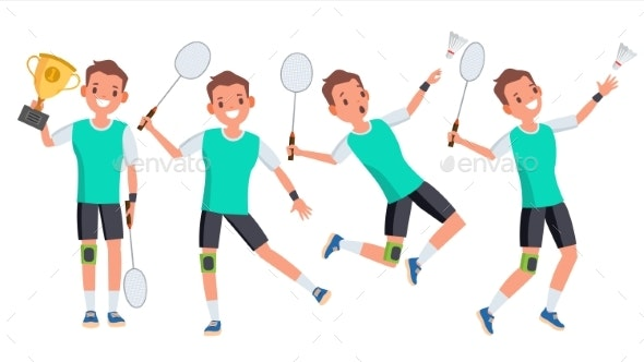 Badminton Male Player Vector. Playing In Different - Sports/Activity Conceptual