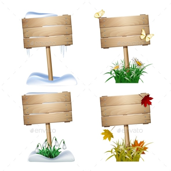 Set of Wooden Signs in Four Seasons. - Miscellaneous Vectors