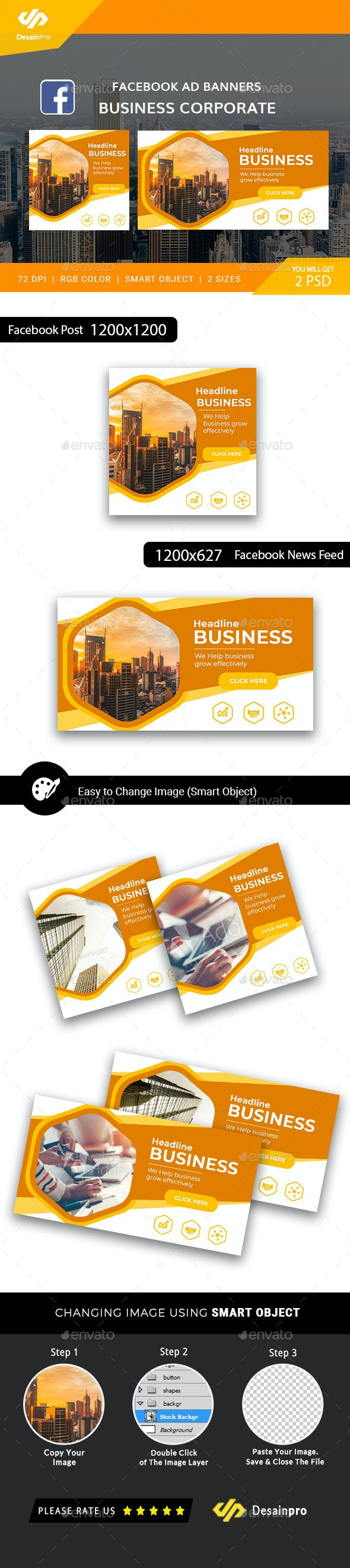 Business Corporate Facebook Ad Banners - AR - Social Media Web Elements