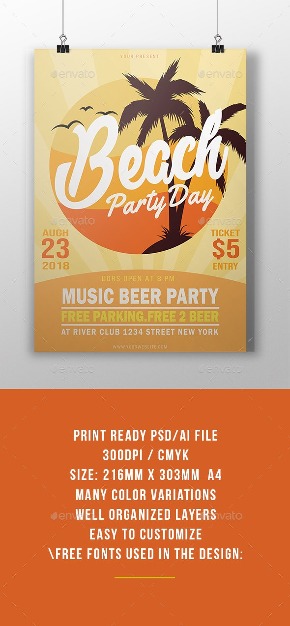 Beach Party - Events Flyers