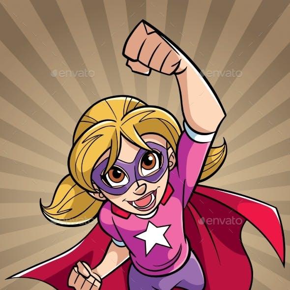 Super Girl Flying Ray Light Background