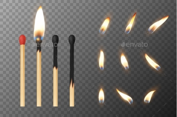 Vector Realistic Match Stick and Different Flames - Organic Objects Objects