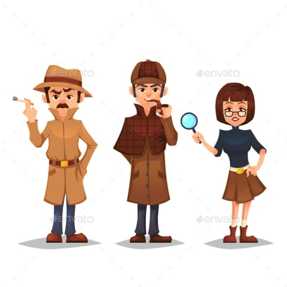 Set of Detective Characters