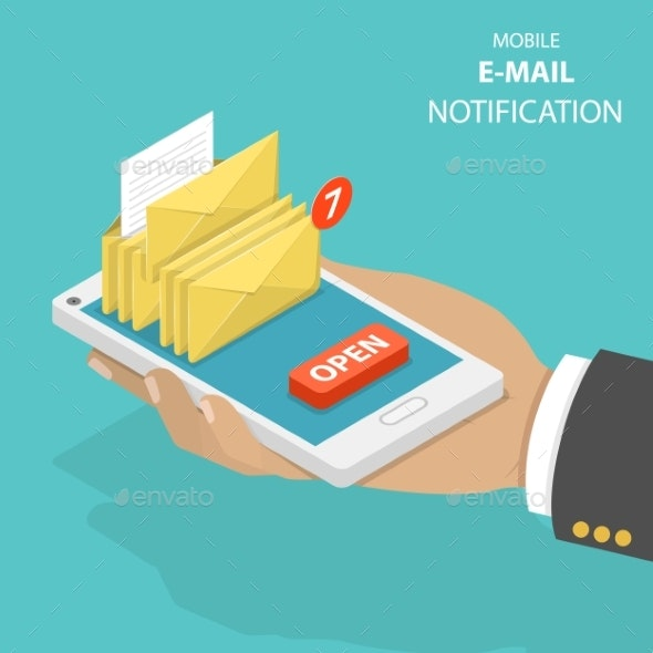 Email Notification Flat Isometric Vector Concept - Computers Technology
