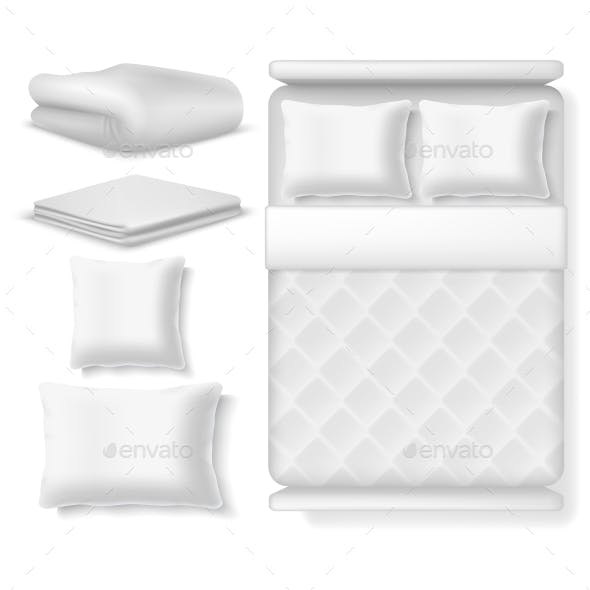 Blank White Realistic Bedding Top View