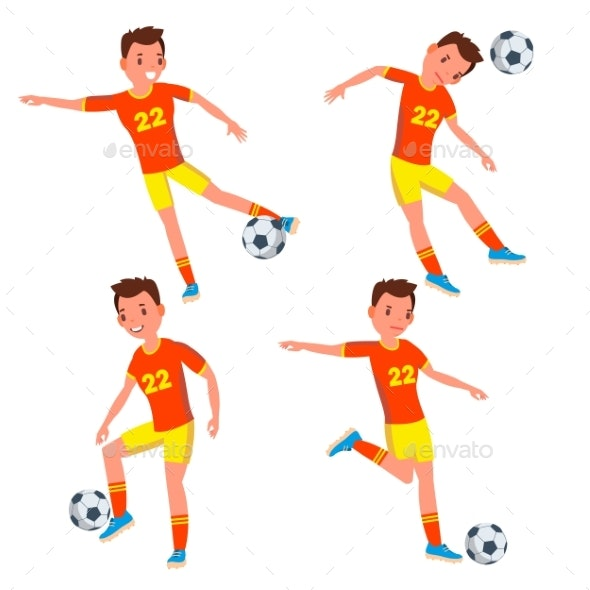 Soccer Young Man Player Vector. Man. Modern - People Characters