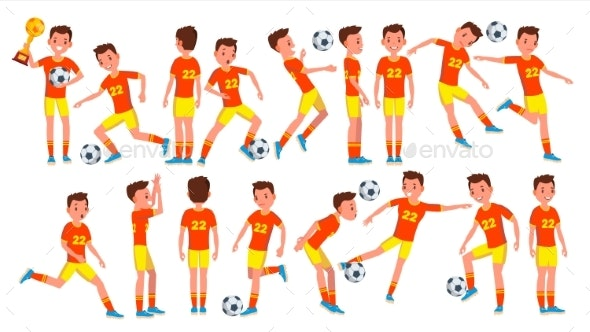 Soccer Man Player Male Vector. Field. Training - People Characters