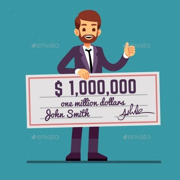 Man Holding Money Prize Check