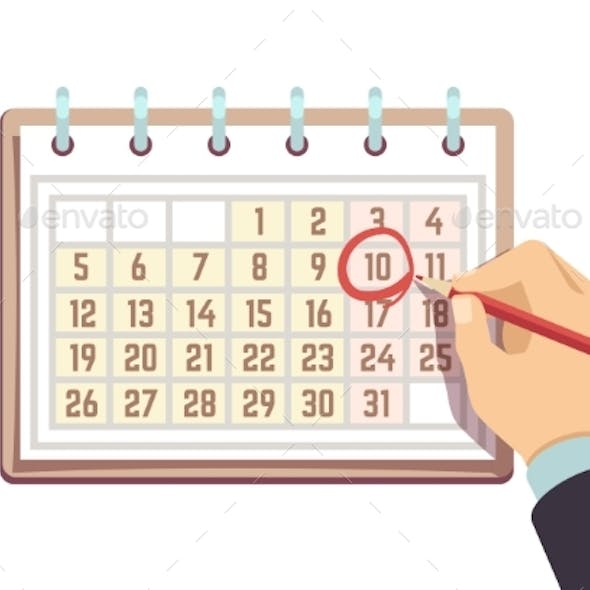 Hand with Pen Marks Date in Calendar