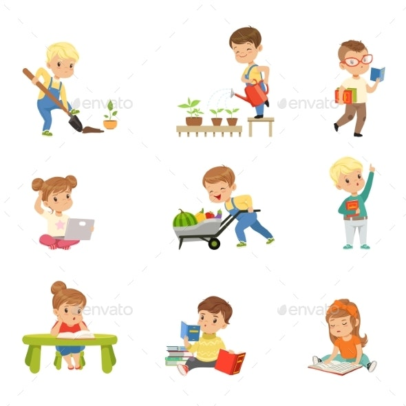 Kids Reading Books and Working - Miscellaneous Vectors