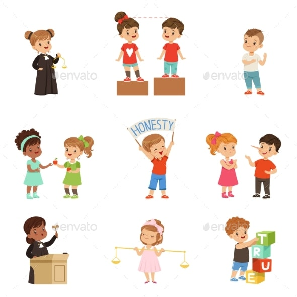 Kind and Fair Little Children Set - People Characters