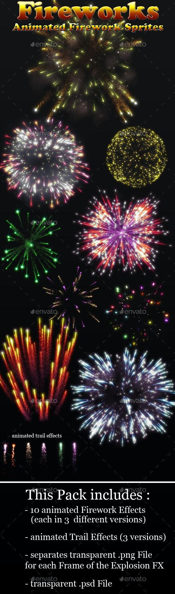Fireworks Effect Sprites - Sprites Game Assets