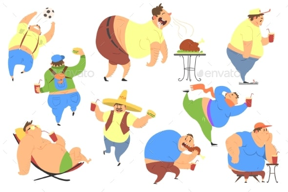 Cheerful Overweight Man in Different Situations - Sports/Activity Conceptual