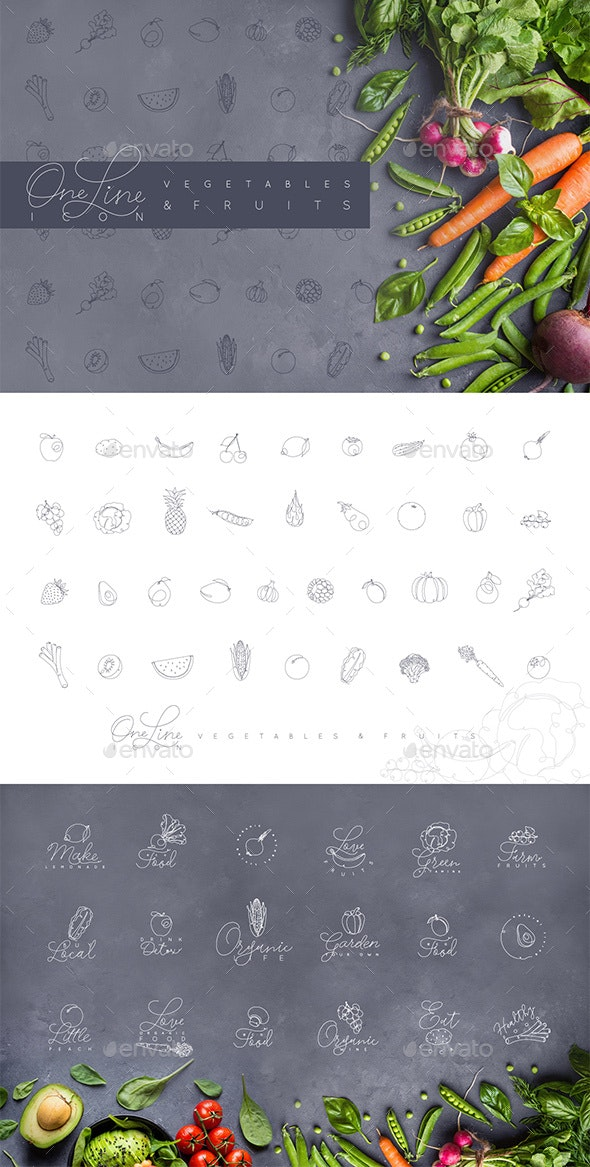 Line Vegetables & Fruit Icons - Food Objects