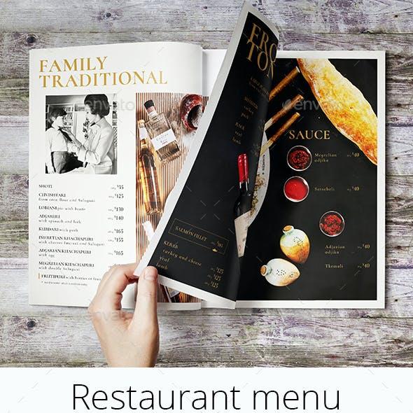 Restaurant Menu in a Magazine Style
