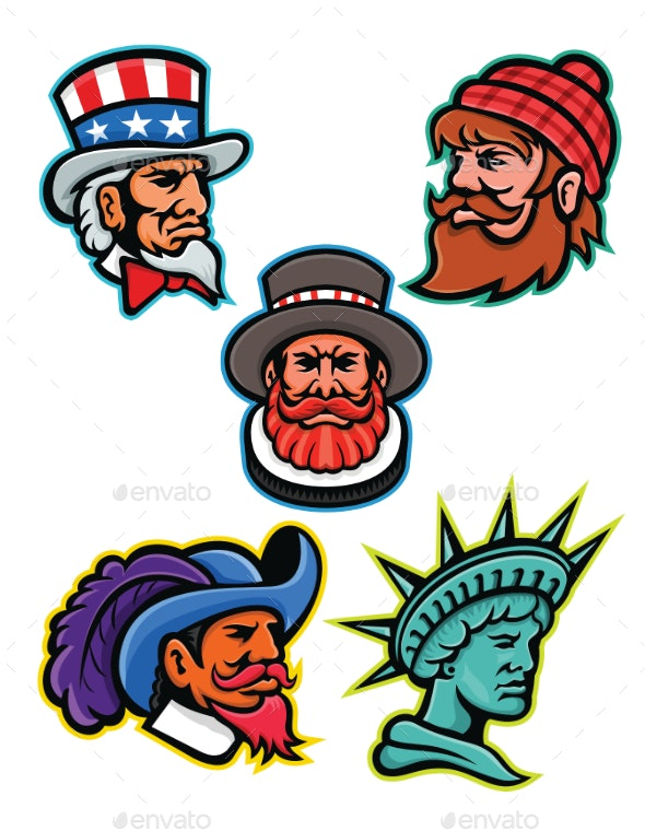American and British Mascots Collection - People Characters