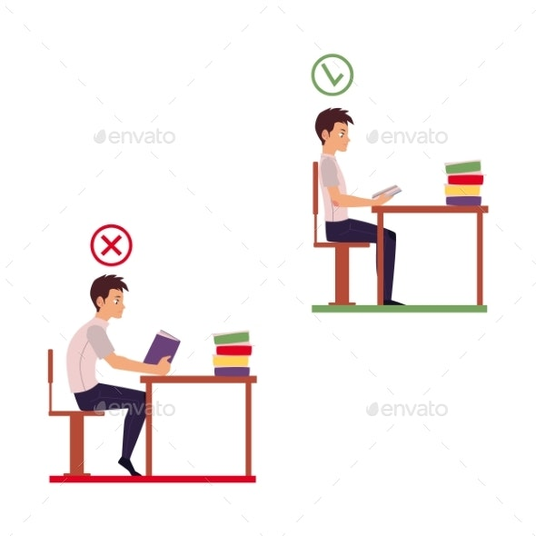 Young Man Reading in Incorrect Sitting Position - Health/Medicine Conceptual