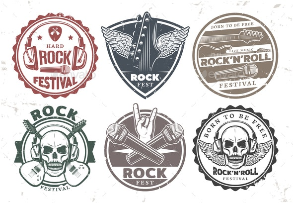 Retro Rock Music Stamps Set - Miscellaneous Vectors