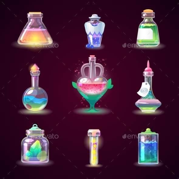 Magic Bottle Vector Magical Game Potion in Glass - Food Objects