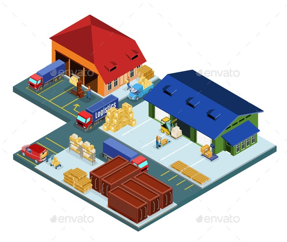 Isometric Warehouse Area Concept - Buildings Objects