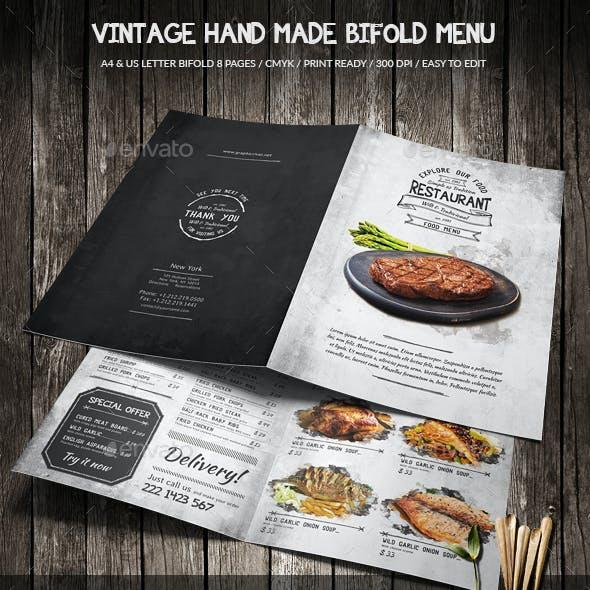 Vintage Hand Made Bifold Food Menu A4 & US Letter