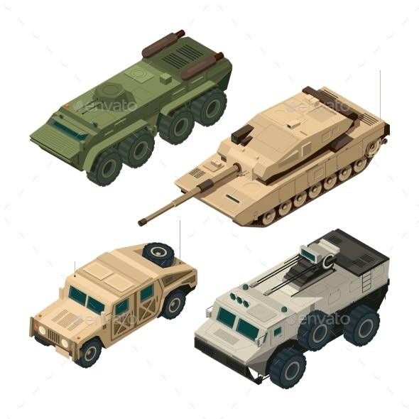Vector Isometric Pictures Set of Different Military Vehicles