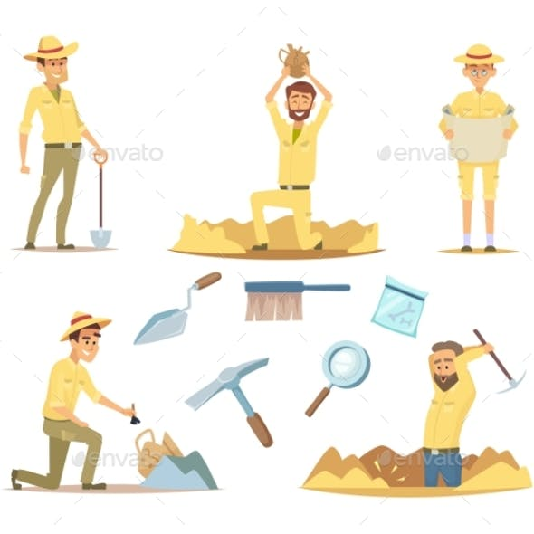 Vector Archaeologist Characters at Work