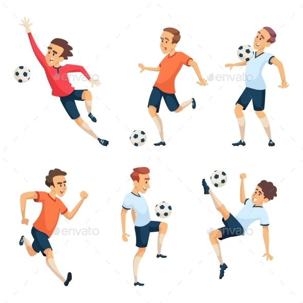 Soccer Characters Playing Football - Sports/Activity Conceptual