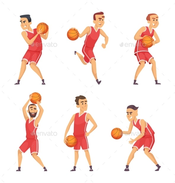 Illustrations Set of Basketball Players - Sports/Activity Conceptual