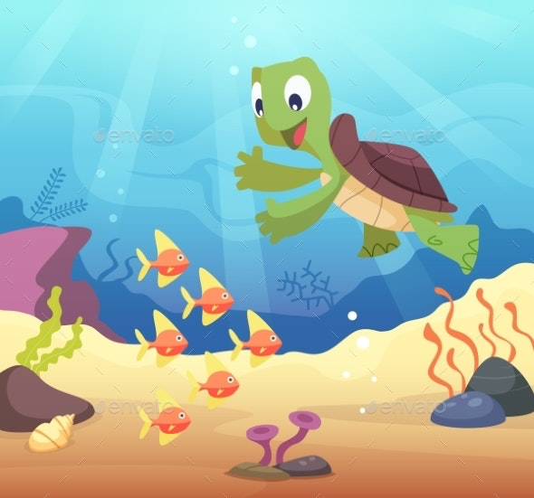 Sea Underwater Background with Cartoon Turtle - Animals Characters
