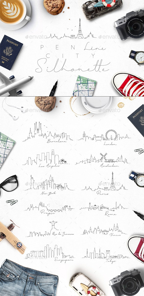 Pen Line City Silhouettes - Travel Conceptual
