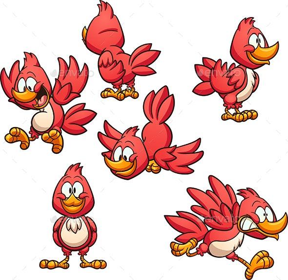Red Cartoon Bird - Animals Characters