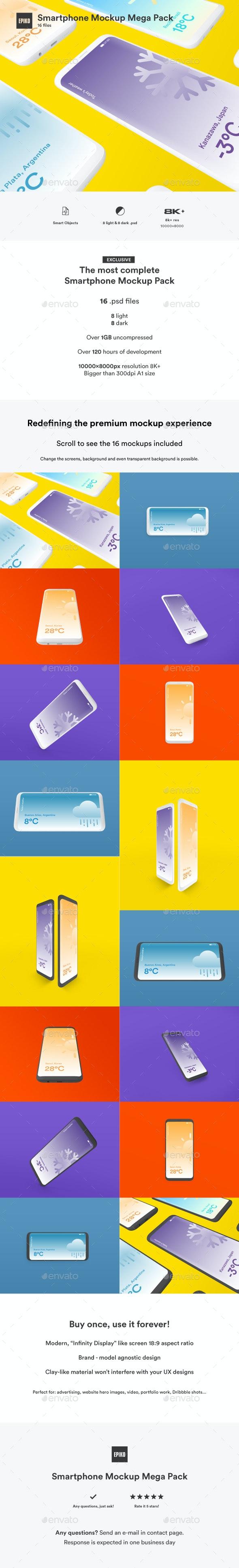 Smartphone Mockup Pack Light and Dark - Mobile Displays