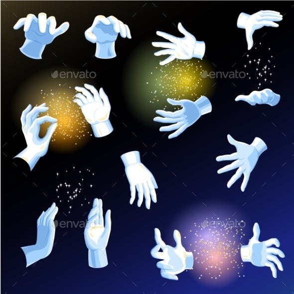 Magic Hands Vector Magician or Illusionist Holding
