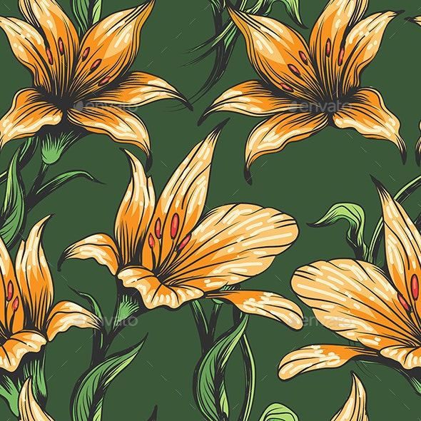 Orchid Flowers Seamless Pattern - Patterns Decorative