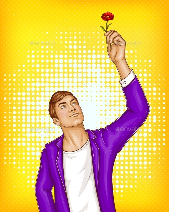 Vector Pop Art Man Holding Flower - People Characters