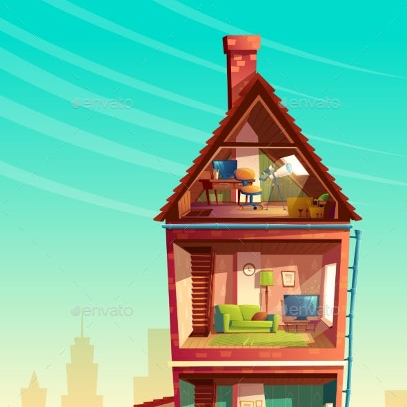 Vector Cartoon Multistory House in Cross Section