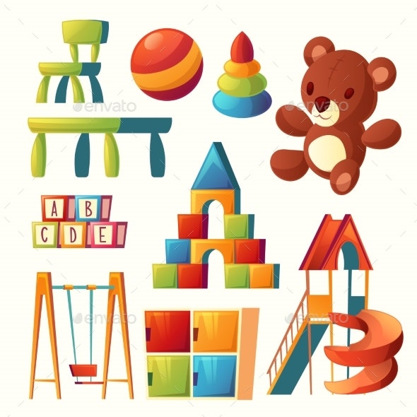Vector Cartoon Toys for Children Playground - Man-made Objects Objects