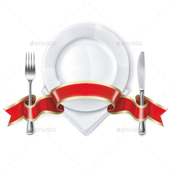 Plate with Ribbon, Spoon, Knife and Fork
