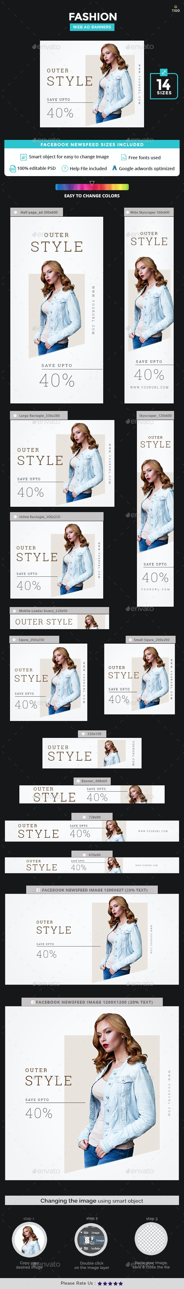 Fashion Sale Banner Set - Banners & Ads Web Elements