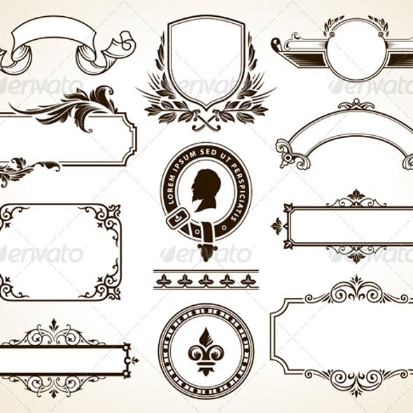 Vector set of ornate frames