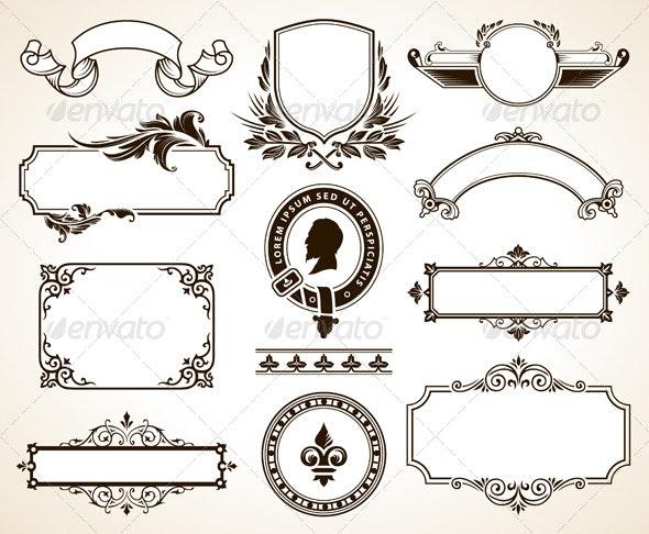 Vector set of ornate frames - Decorative Symbols Decorative